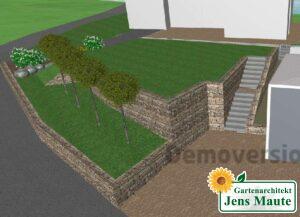 Treppenaufgang und Mauerbau Darstellung dreidimensional